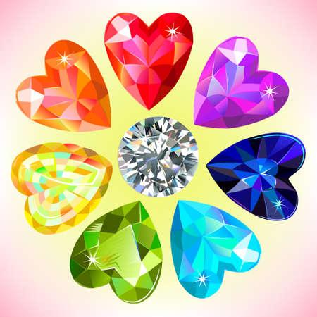 Heart cut gemstone motif pattern shape set on background, vector illustration