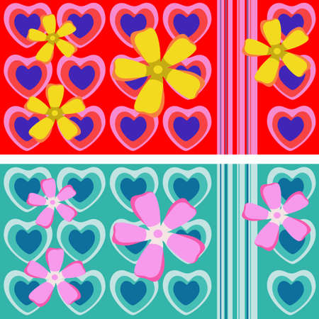 Seamless repeating ornament with hearts and flowers, suitable for a cup design, isolated on background. Vector illustration