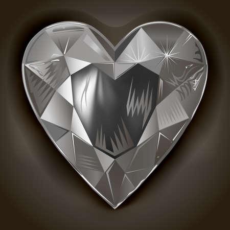 Heart cut gemstone motif pattern shape on grey background, vector illustration Archivio Fotografico