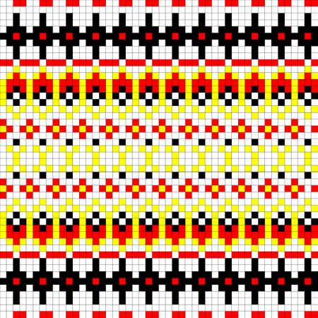 Geometrical seamless counting jacquard embroidery or knitting scheme motif pattern background, isolated vector illustration. For apparel textile: sweater, sock, scarf; interior: napkin, cushion