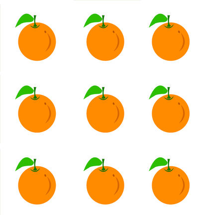 simple cross section: Orange fruit with leaf . Stock Photo