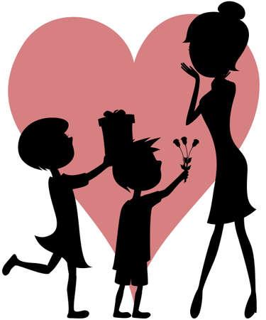 ママ - 驚きの娘と息子のシルエット  イラスト・ベクター素材