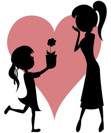 Surprise Mom - flower from a daughter with silhouettes   Vector
