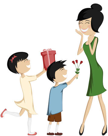 서프라이즈 엄마 - 검은 머리의 딸과 아들과 함께 자세히 설명 일러스트