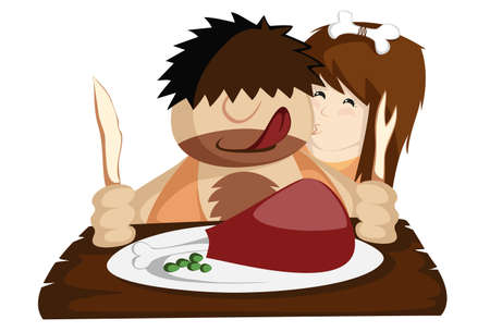 homo: Have a Paleo Dinner - Happy prehistoric caveman couple having a huge bone-in meat for lunch or dinner  Nice illustration for paleo diet programs, valentines, restaurants  Illustration