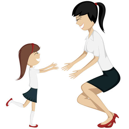 mum and daughter: Hug Your Mom.  A brunette girl in blouse and skirt is running towards her mother in costume  Illustration