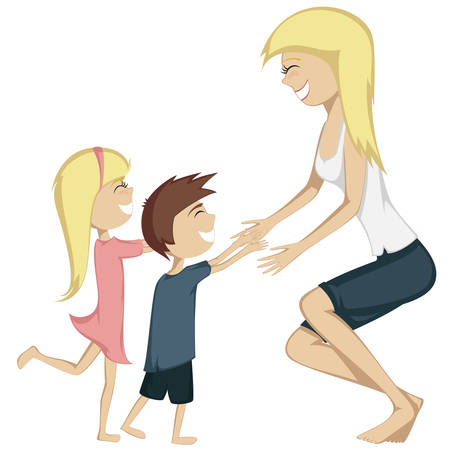 brown haired girl: Hug Your Mom.  A blonde girl and a brown haired boy are running towards their mother for a hug