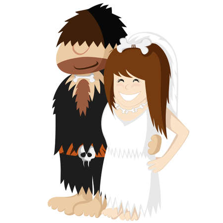 Happy prehistoric engaged caveman couple illustration with a pretty bride in white and a posh bridegroom in a fancy suit