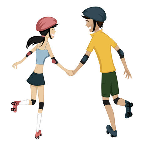Happy roller-skating couple - Colorful and detailed cartoon-style art with a smiling and glad young couple is holding hands while skating together Vector