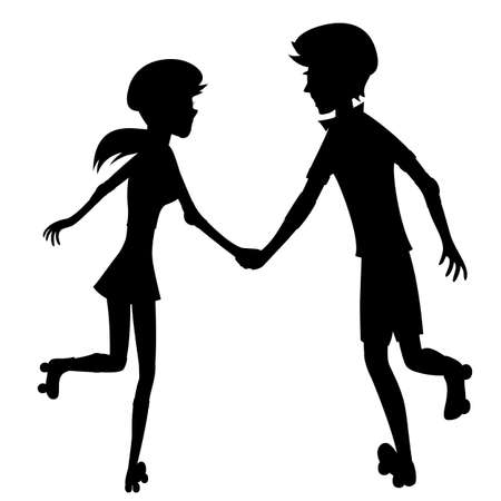 Happy roller-skating couple  silhouette  - Silhouette of a glad young couple is holding hands while skating together Vector