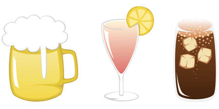 coke: Simple flat illustration of three colorful and popular summertime drinks - beer, cocktail and coke with ice