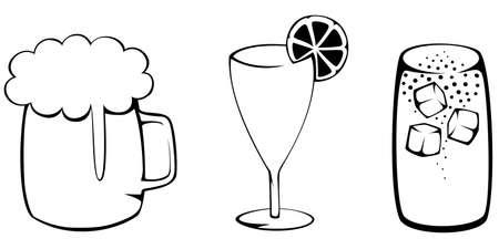 chope biere: Silhouettes simples de trois populaire boissons d'�t� - la bi�re, cocktail et cola avec de la glace