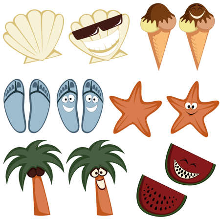 Classic summer icons - Collection of colorful cute summertime character icons  emoticons  with a simple and cartoon-like look Vector