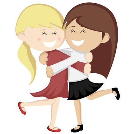 Hug collection - Lovely girlfriends are embracing and smiling