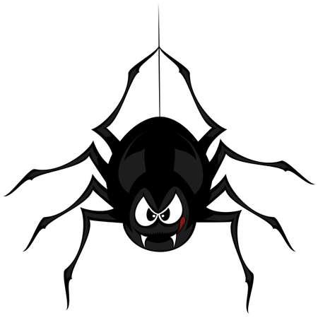面白いの気紛れなクモ - 黒漫画スタイル蜘蛛はうなると、彼の蜘蛛の糸にぶら下がっている間怒っている目で口の中を舐めています。