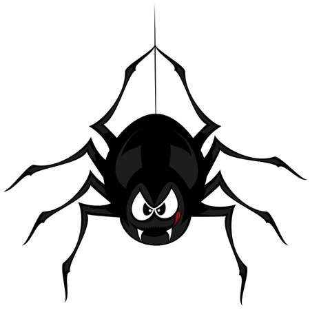 Funny freaky spider - a black cartoon-style spider is snarling and licking mouth with angry eyes while hanging on his spider thread Ilustração
