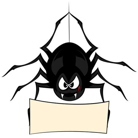 Funny freaky spider - a black cartoon-style spider is snarling and licking mouth with angry eyes while hanging on his spider thread and holding a board (your text can be placed there!)