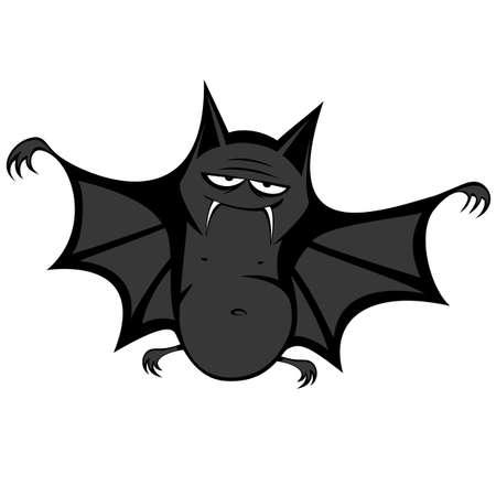 Funny freaky bat - a big black fat bat is smiling at you Stock Illustratie