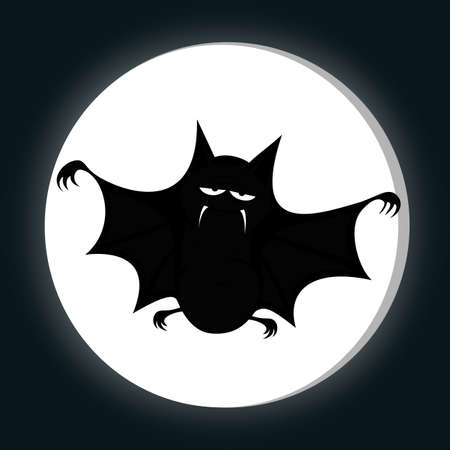 horrific: Funny freaky bat - a big black fat bat is smiling at you with a full moon (midnight silhouette) Illustration