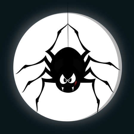 Funny freaky spider - a black cartoon-style spider is snarling and licking mouth with angry eyes while hanging on his spider thread in front of a full moon Vector