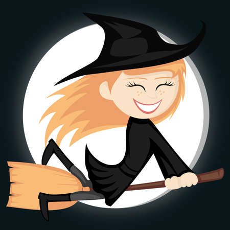 Witches all around - a cute and sexy young ginger witch girl is smiling and riding on her broom in front of a full moon Vector