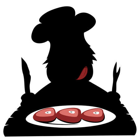 lick: Paleo chef  - Silhouette of a hungry prehistoric chef is about to eat delicious paleo stake.