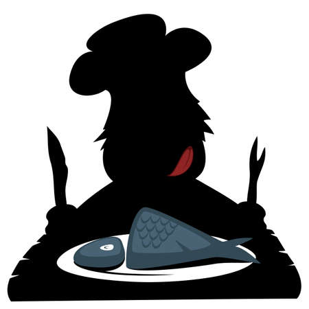 illustration of black fishbone: Paleo chef  - Silhouette of a hungry prehistoric chef is about to eat a fresh fish.