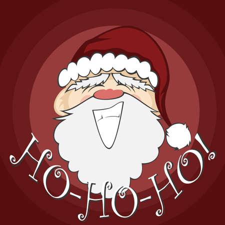 ho: Santa Faces - Santa Claus with a big smile (background with ho-ho-ho text)