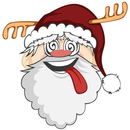 Caras de Santa - Santa Claus es sonriente con la lengua fuera y los ojos locos Ilustración de vector