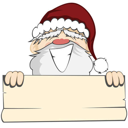 face off: Santa Faces - Santa Claus is smiling and holding a bulletin paper (within your text can be placed)