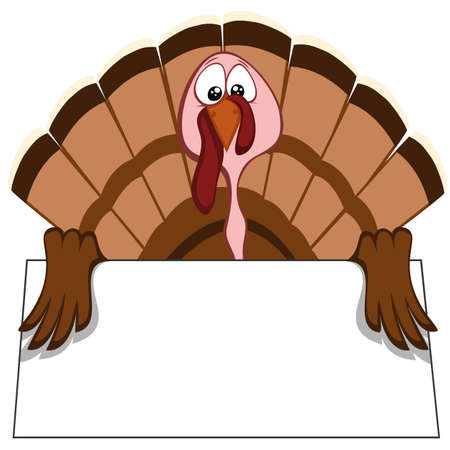 Funny turkeys - turkey with begging eyes (place your text on the bulletin!) Illustration