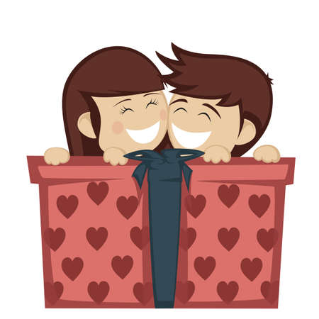 huddling: Big box surprise - A brunette girl and boy huddling and smiling with a big gift box.