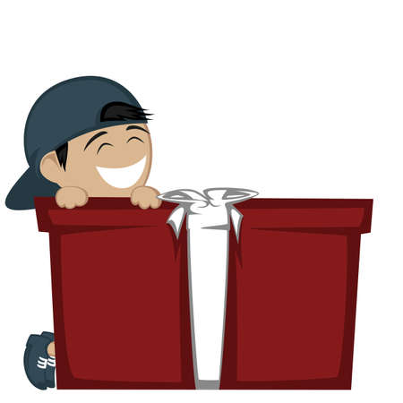 baseball hat: Big box surprise - A black haired boy with a baseball hat smiling with a big gift box. Illustration