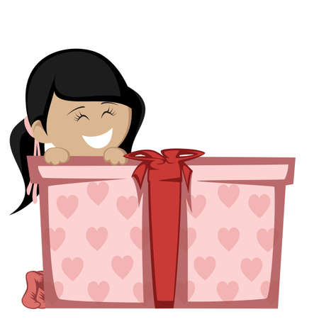 black haired: Big box surprise - A black haired girl in socks smiling with a big gift box.