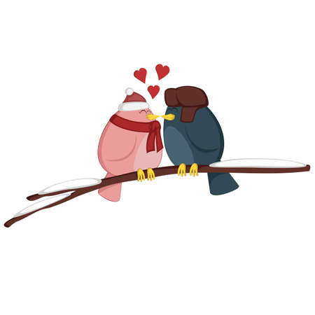 birdies: Kissing birdies on a branch - A pink girl and a blue boy bird couple is feeling love (Winter edition)! Illustration