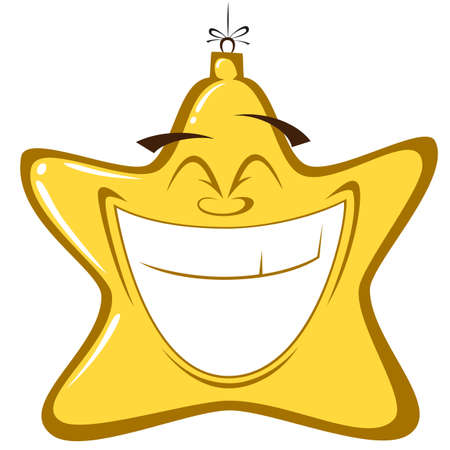 cling: Happy Christmas Decorations - Christmas star decoration with a big smile