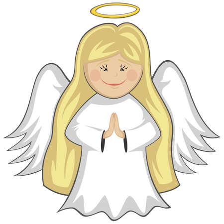 gloria: Little Cute Angels - blonde angel praying (outlined)