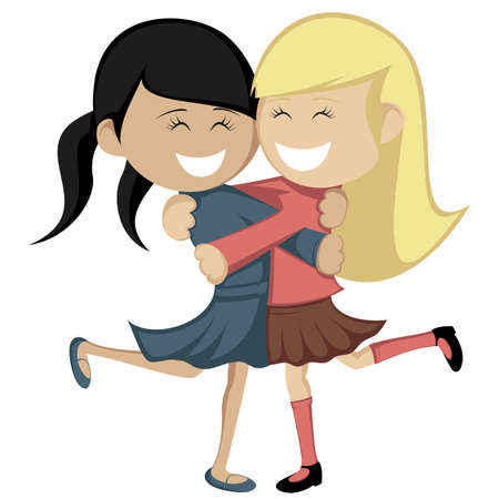 black haired: Hug collection - Lovely girlfriends are embracing and smiling. Illustration