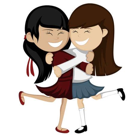 mejores amigas: Colecci�n Abrazo - novias encantadoras est�n abrazando y sonriendo. Vectores