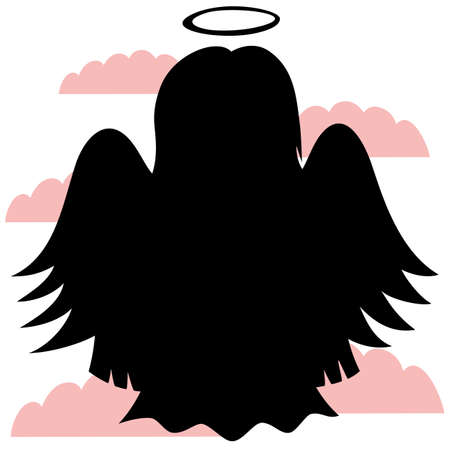gloria: Little Cute Angels - silhouette of an angel Illustration