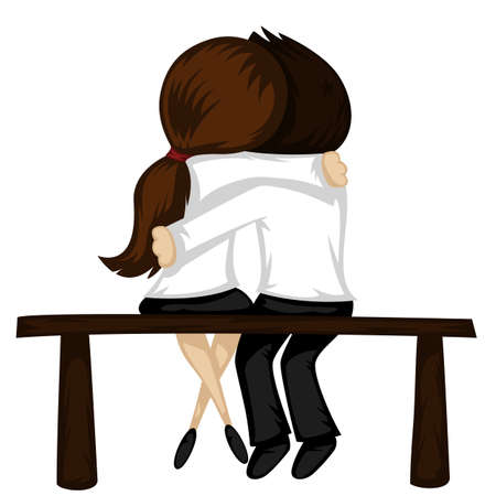 brown haired: Be my Valentine! - Lovely couple sit on a bench (a brunette girl and a brown haired boy). Illustration