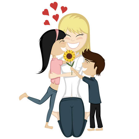 Loving mommy collection - A cute black haired girl and a brown boy surprise their blonde mom.
