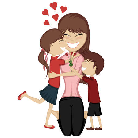parent and child: Loving mommy collection - A cute brunette girl and boy surprise their mom.