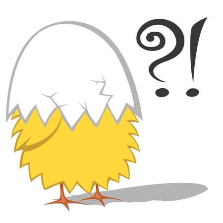 wondering: Funny chickens - Cute yellow chicken (chickling) is wondering with an eggshell on head Illustration
