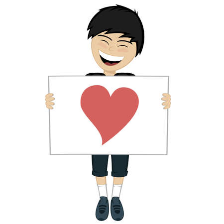 The black haired boy with the white board and a heart shape
