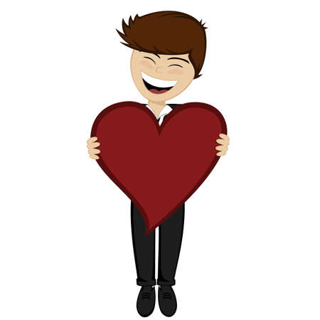 endearment: The brown haired boy with big red heart Illustration