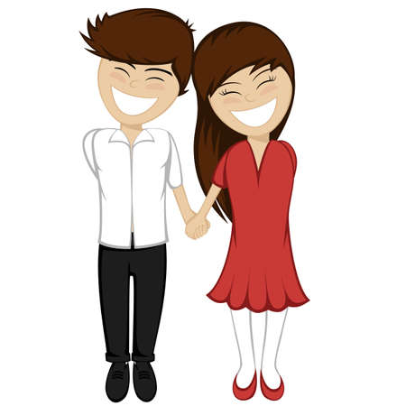 endearment: The brunette boy and girl holding hands and smiling together Illustration