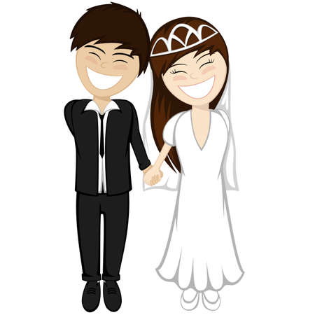 The beautiful brunette bride and the bridegroom brown hair in suit are holding hands and smiling together