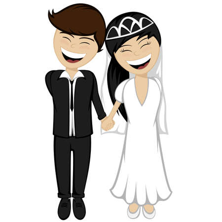 endearment: A beautiful black haired bride and bridegroom in the suit are holding hands and smiling together Illustration