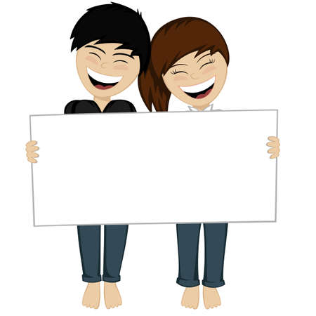 The happy couple smiling brunette black haired boy and the girl holding the big board